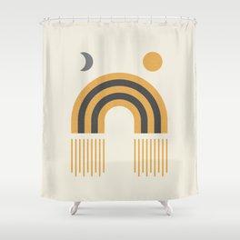 Sun and Moon Rainbow Midcentury style Shower Curtain