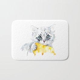 Kitten with a yellow blanket Bath Mat