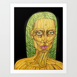 Spaghetti Lady With Green Hair Art Print