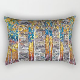 Colourful Autumn Aspen Trees Rectangular Pillow