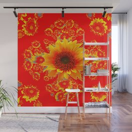 Seriously Red & Yellow Sunflower Art Wall Mural