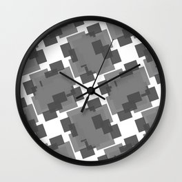 Seamless Black and White Pattern from Rectangle Intersections Wall Clock