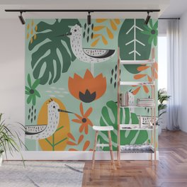 Birds and tropical botany Wall Mural
