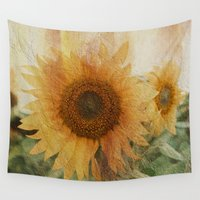sunflower Wall Tapestries featuring sunflower by VanessaGF