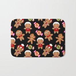 Cute decorative hygge pattern. Happy gingerbread men and sweet xmas caramel chocolate candy. Xmas Bath Mat