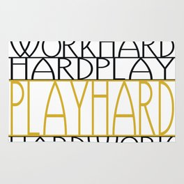 Work Hard, Play Hard - Black, Yellow - Saying, Quote - Typography Rug
