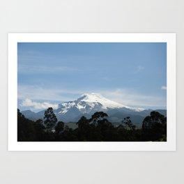 Snowy volcano Art Print
