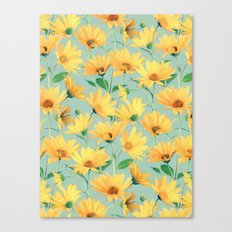 Painted Golden Yellow Daisies on soft sage green Canvas Print