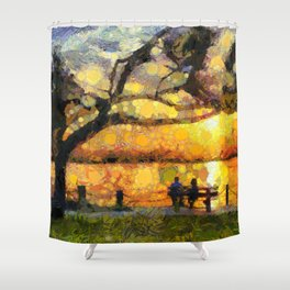 Love watching the sunset Shower Curtain
