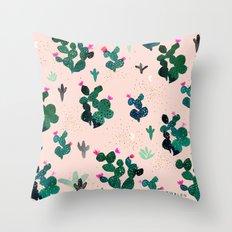 Cactus Desert Pink Dusk Moon Throw Pillow