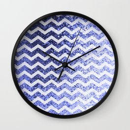 Glitter Sparkly Bling Chevron Pattern (blue) Wall Clock