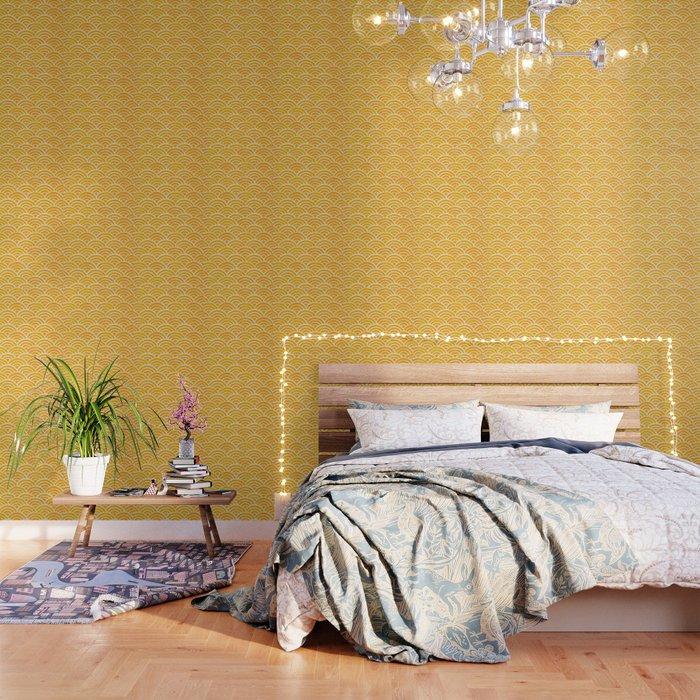 Japanese Seigaiha Wave – Marigold Palette Wallpaper