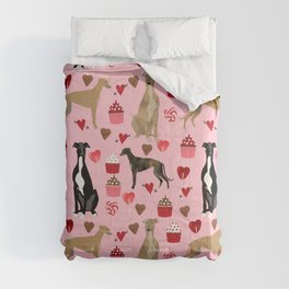 Greyhound valentines day cupcakes and hearts pet portrait custom dog person gifts greyhounds Comforters