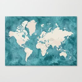 Teal watercolor and light brown world map Canvas Print