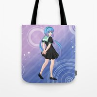 vocaloid Tote Bags featuring Aoki Lapis - VOCALOID Gakuen by Tenki Incorporated