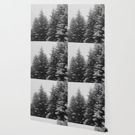 The Pine Tree Forest (Black and White) Wallpaper