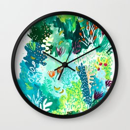 Twice Last Wednesday: Abstract Jungle Botanical Painting Wall Clock