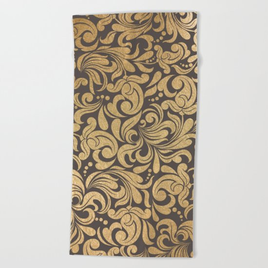 Gold foil swirls damask #11 Beach Towel