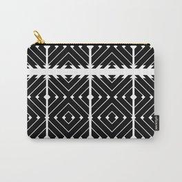 MONOCHROMA Geometrica : Black & White Box Pattern Carry-All Pouch