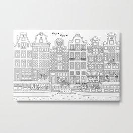 Amsterdam Line Art Metal Print