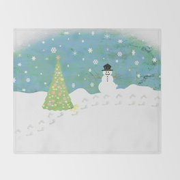 Snowman on Christmas Day Throw Blanket
