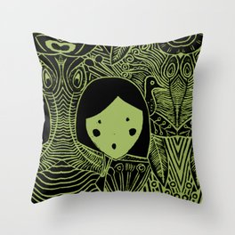 Olive Round by the Peacocks  Throw Pillow