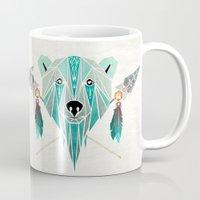 polar bear Mugs featuring polar bear by Manoou