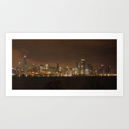 Chicago Skyline at Night Color Photography Art Print