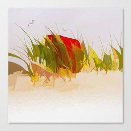 Beach chair in beach grass Canvas Print