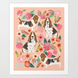 Basset Hound florals cute pink pastel gender neutral dog owner breed must have gifts dog art pets Art Print