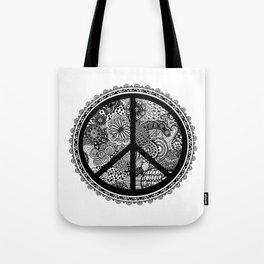 Zen Doodle Peace Symbol Black And White Tote Bag