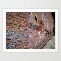 Graffiti Wall with Chicken Art Print