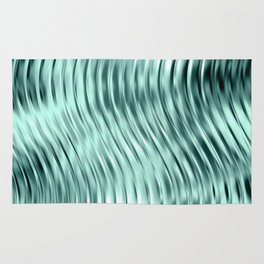 Modern Abstract Shiny Waves Glass Optical Illusion,Reflective Light, Ocean Teal Rug