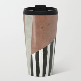 Abstract Geometric Composition in Copper, Brown, Black Travel Mug
