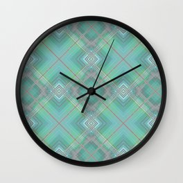 Blue green plaid . Wall Clock