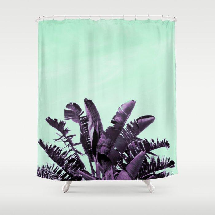 Purple Banana Leaves Turquoise Sky Shower Curtain