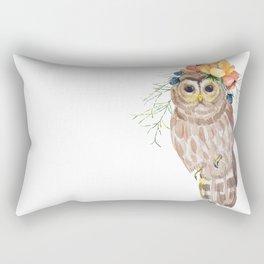 Owl with flower crown Rectangular Pillow
