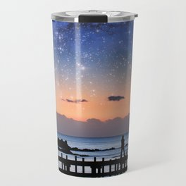 Fantasy landscape - silhouette of a woman walking on pier admiring stars in the sky.  Travel Mug