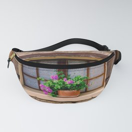 French Window with Potted Plants Fanny Pack