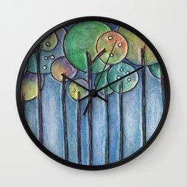 Lollipop Trees 4 Blue Series Wall Clock
