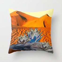 BLUE AGAVE DESERT LANDSCAPE CACTUS ART Throw Pillow