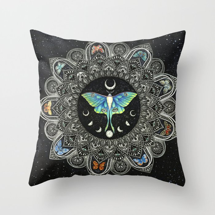 Lunar Moth Mandala with Background Throw Pillow