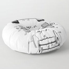 Weight Lifting Patent - Dumb Bell Art - Black And White Floor Pillow