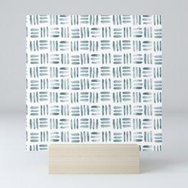Blue and White Basketweave Mini Art Print