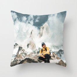 hiking in patagonia Throw Pillow