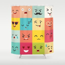 Emoticons vector pattern. Emoji square icons Shower Curtain