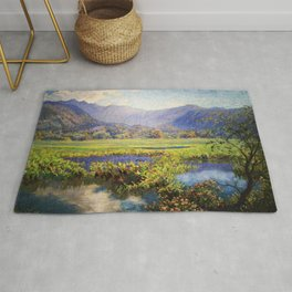 Manoa, Hawaiian landscape painting by Anna Woodward Rug