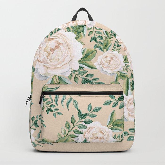 Garden Roses Mandala Pink Green Cream Backpack