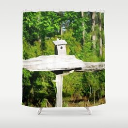 Rustic Knotted Pine Wood Fence Birdhouse Yard Art Shower Curtain