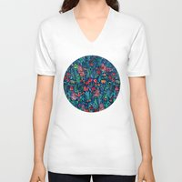 garden V-neck T-shirts featuring Tropical Ink - a watercolor garden by micklyn